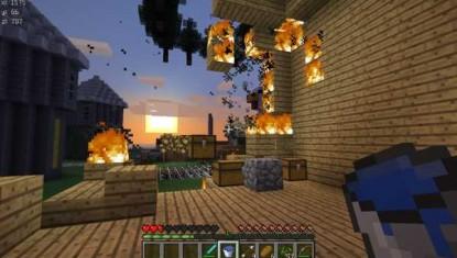 грифер разрушает дом