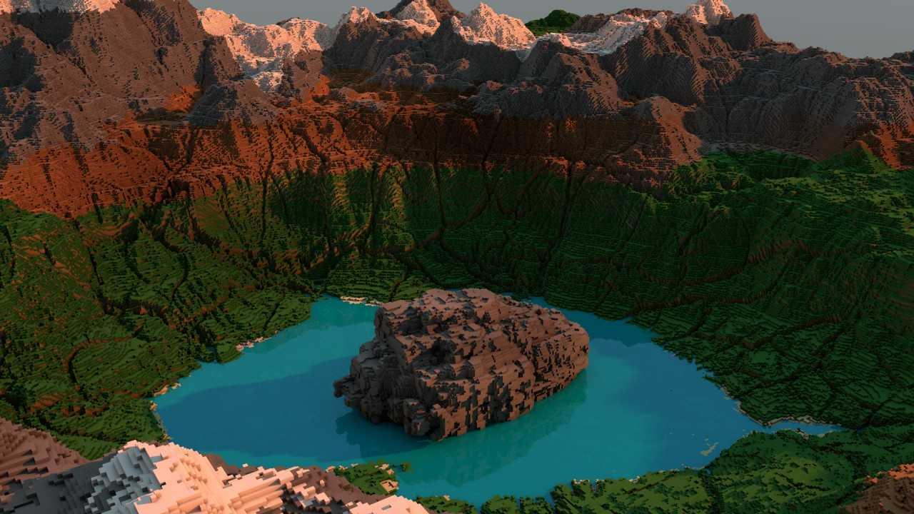 Карта озеро в кратере