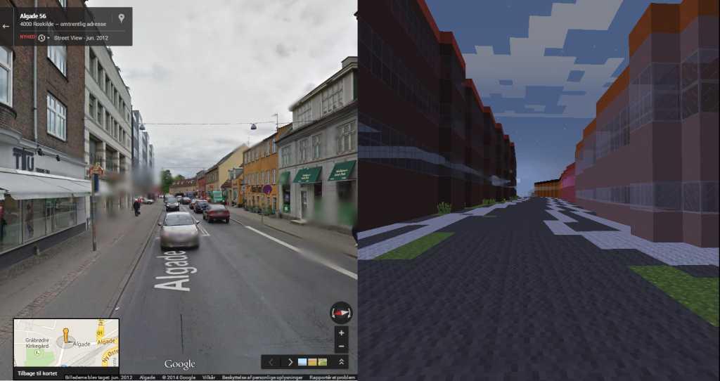 Улицы датского городка в Майнкрафт