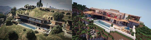 Сравнение дома Франклина из ГТА 5 и Майнкрафта